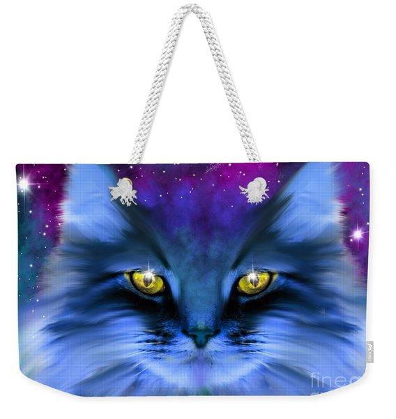 Blue Ghost Cat Weekender Tote Bag