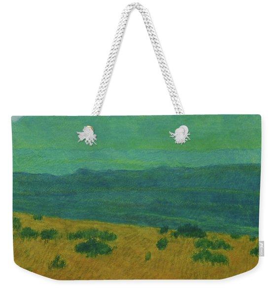 Weekender Tote Bag featuring the painting Blue-green Dakota Dream, 1 by Cris Fulton