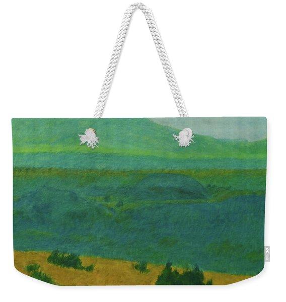 Weekender Tote Bag featuring the painting Blue-green Dakota Dream, 2 by Cris Fulton