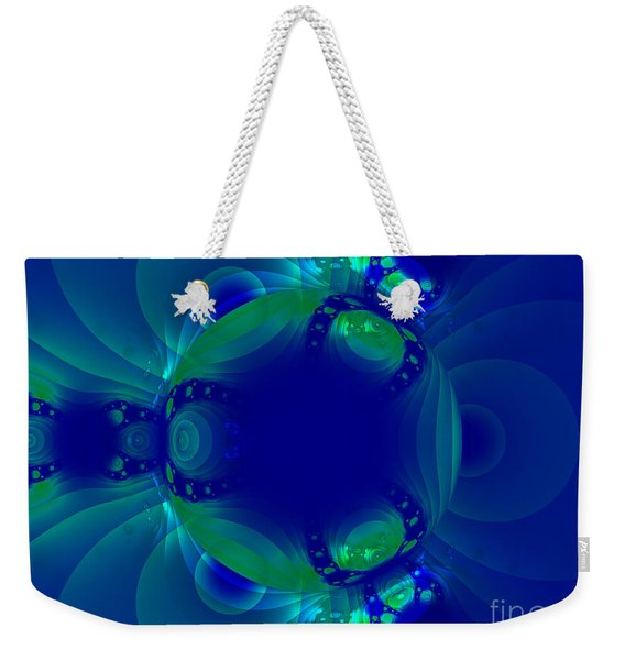 Blue Green Globe Luminant Fractal Weekender Tote Bag
