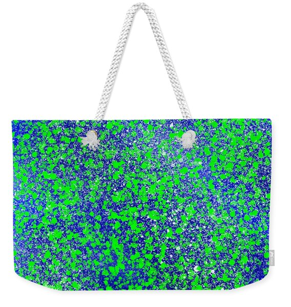 Blue Green Splatter Weekender Tote Bag