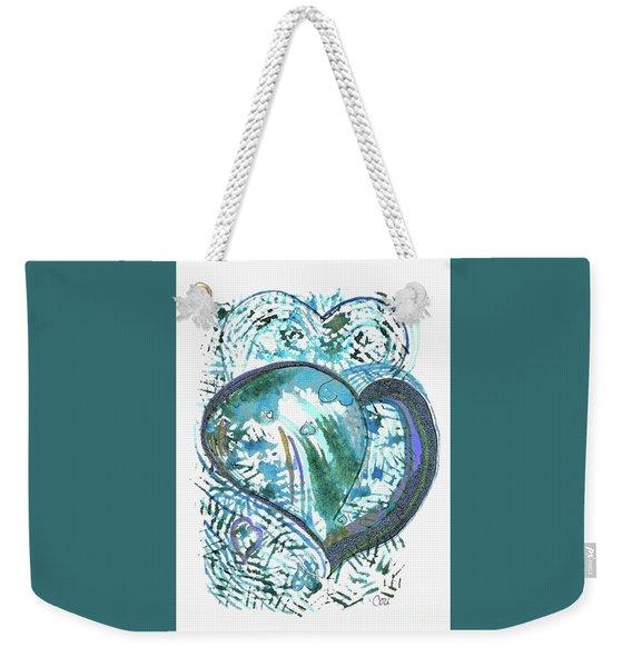Blue Heart Weekender Tote Bag