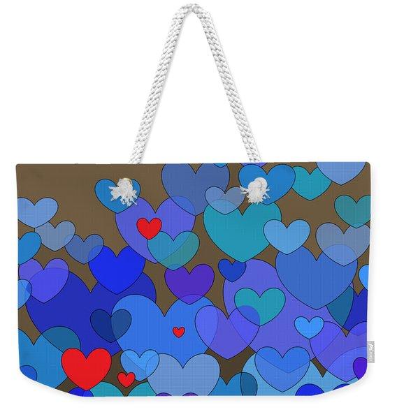 Blue Hearts Weekender Tote Bag