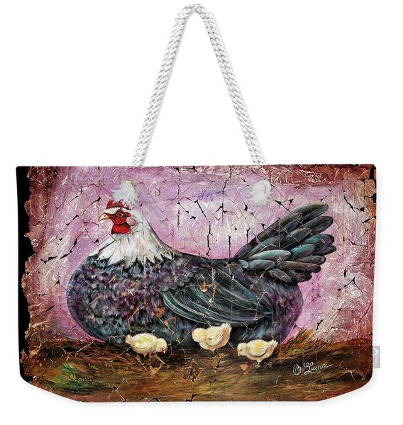 Blue Hen With Chicks Fresco Black Background Weekender Tote Bag