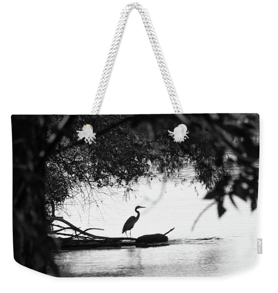 Blue Heron In Black And White. Weekender Tote Bag