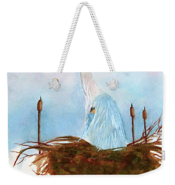 Weekender Tote Bag featuring the painting Blue Heron Nesting by Rich Stedman