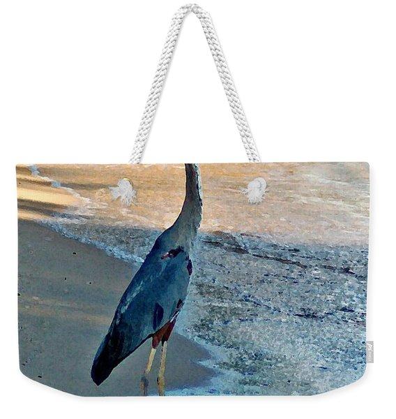 Blue Heron On The Beach Close Up Weekender Tote Bag