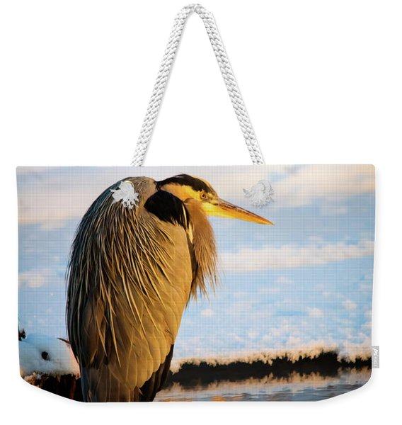 Blue Heron Resting Weekender Tote Bag
