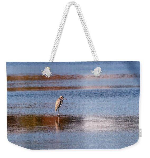 Blue Heron Standing In A Pond At Sunset Weekender Tote Bag