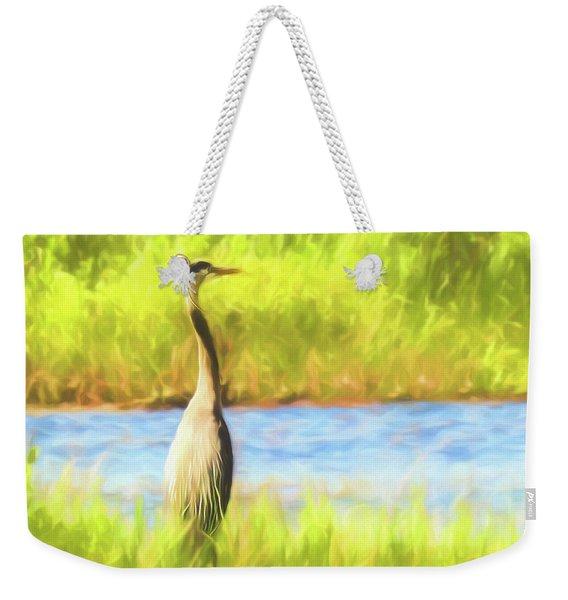 Blue Heron Standing Tall And Alert Weekender Tote Bag