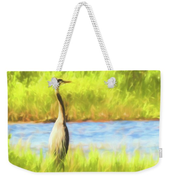 Blue Heron Standing Tall And Alert Weekender Tote Bag