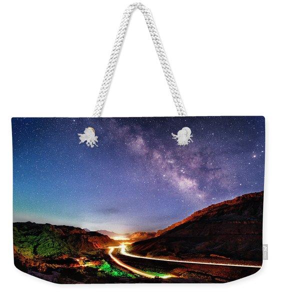 Blue Hour Milky Way Over Moab Weekender Tote Bag