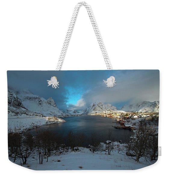 Blue Hour Over Reine Weekender Tote Bag