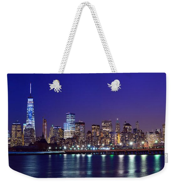 Blue Hour Panorama New York World Trade Center With Freedom Tower From Liberty State Park Weekender Tote Bag