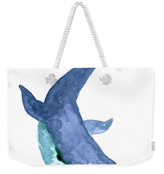 Blue Humpback Whale Watercolor Weekender Tote Bag
