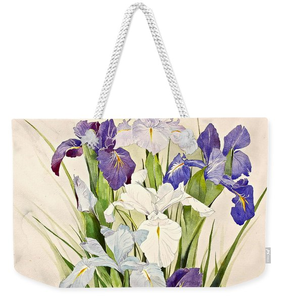 Weekender Tote Bag featuring the painting Blue Irises-posthumously Presented Paintings Of Sachi Spohn  by Cliff Spohn