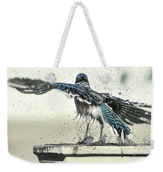 Weekender Tote Bag featuring the photograph Blue Jay Bath Time by Scott Cordell