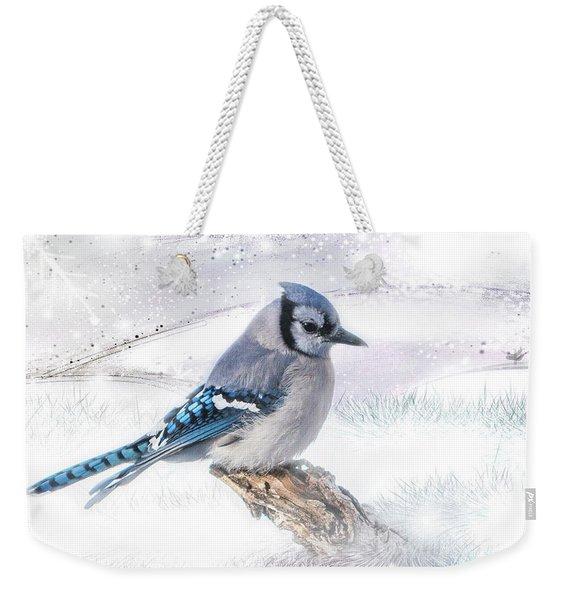 Blue Jay Snow Weekender Tote Bag