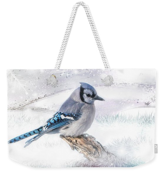 Blue Jay Snow Weekender Tote Bag