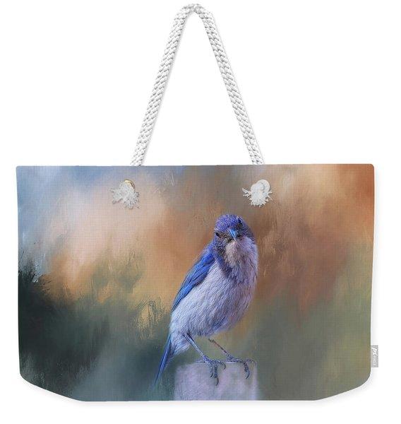 Blue Jay Visit Weekender Tote Bag