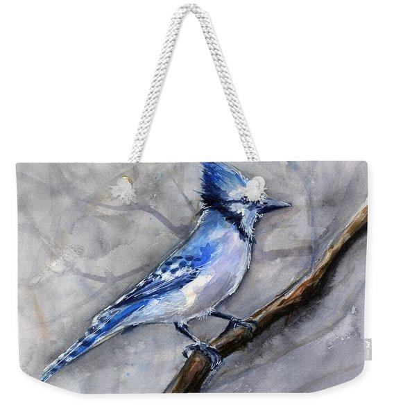 Blue Jay Watercolor Weekender Tote Bag