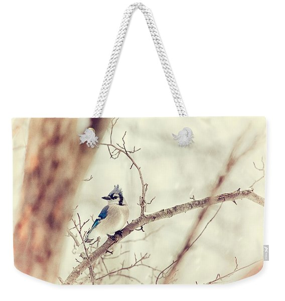 Blue Jay Winter Weekender Tote Bag