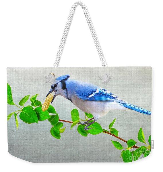 Blue Jay With Peanut Weekender Tote Bag