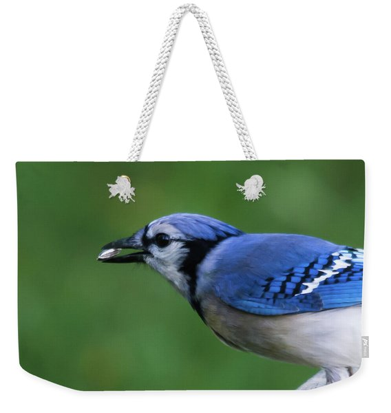 Blue Jay With Seed Weekender Tote Bag