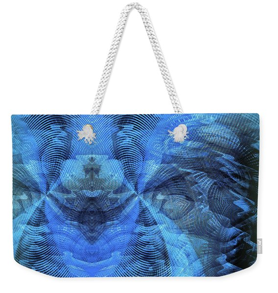 Weekender Tote Bag featuring the digital art Blue Kitty by Visual Artist Frank Bonilla