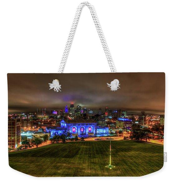 Blue Lights On Kansas City Union Station Kansas City Missouri Art Weekender Tote Bag