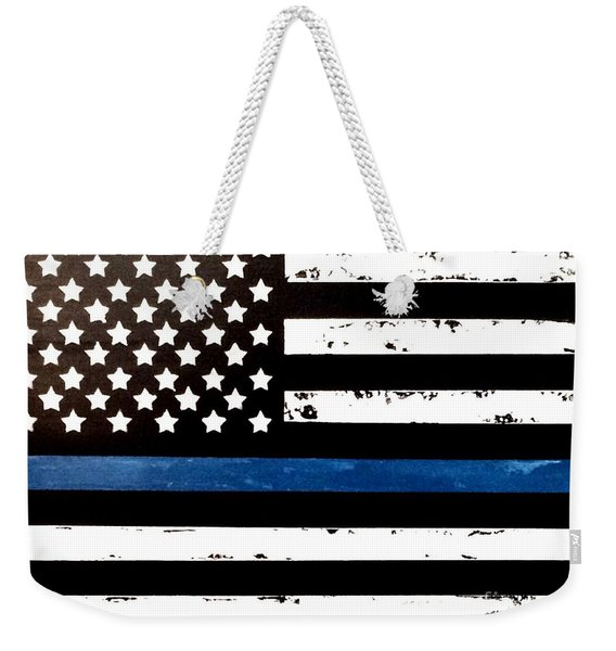 Weekender Tote Bag featuring the painting Blue Line Flag by Denise Tomasura