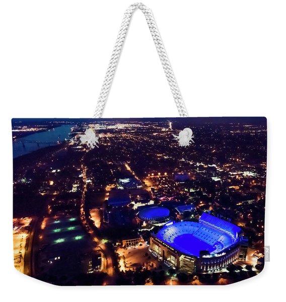 Blue Lsu Tiger Stadium Weekender Tote Bag