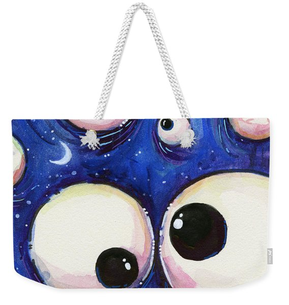 Blue Monster Eyes Weekender Tote Bag