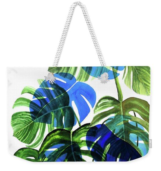 Blue Monstera Weekender Tote Bag