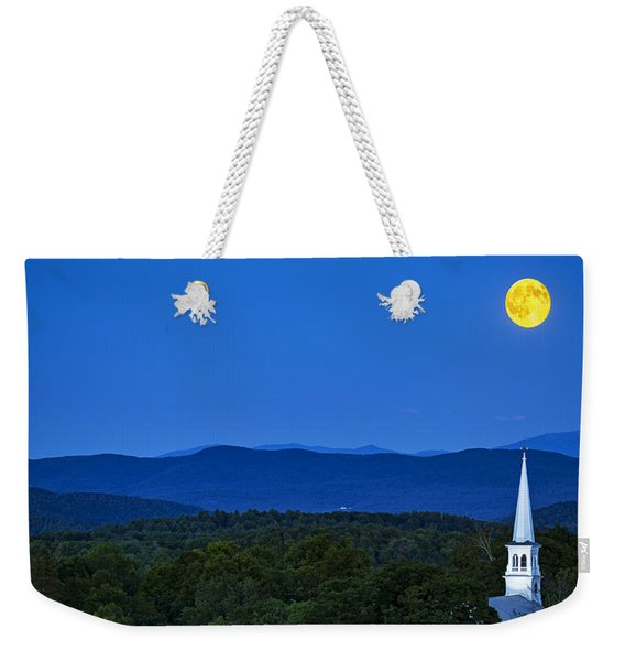 Blue Moon Rising Over Church Steeple Weekender Tote Bag