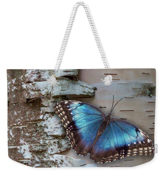 Blue Morpho Butterfly On White Birch Bark Weekender Tote Bag