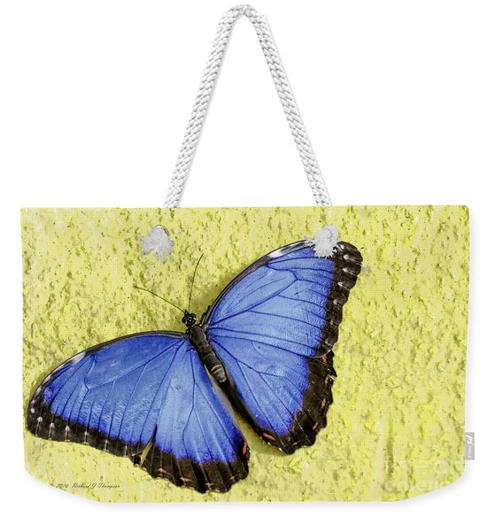 Weekender Tote Bag featuring the photograph Blue Morpho Butterfly by Richard J Thompson