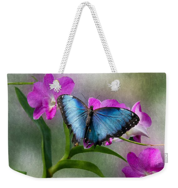 Blue Morpho With Orchids Weekender Tote Bag