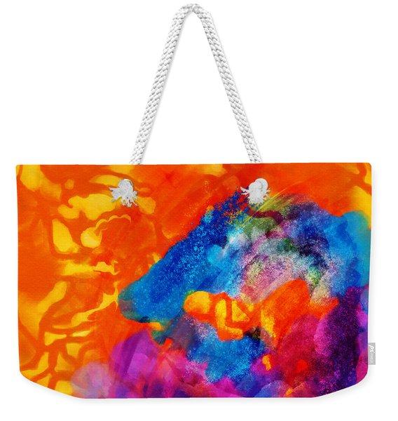 Blue On Orange Weekender Tote Bag