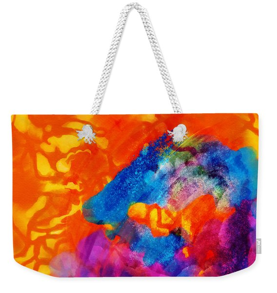 Weekender Tote Bag featuring the digital art Blue On Orange by Antonio Romero