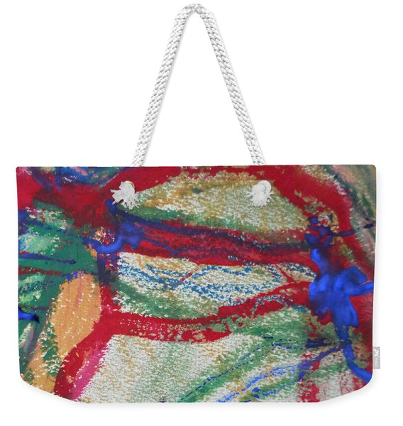 Blue On Red Weekender Tote Bag