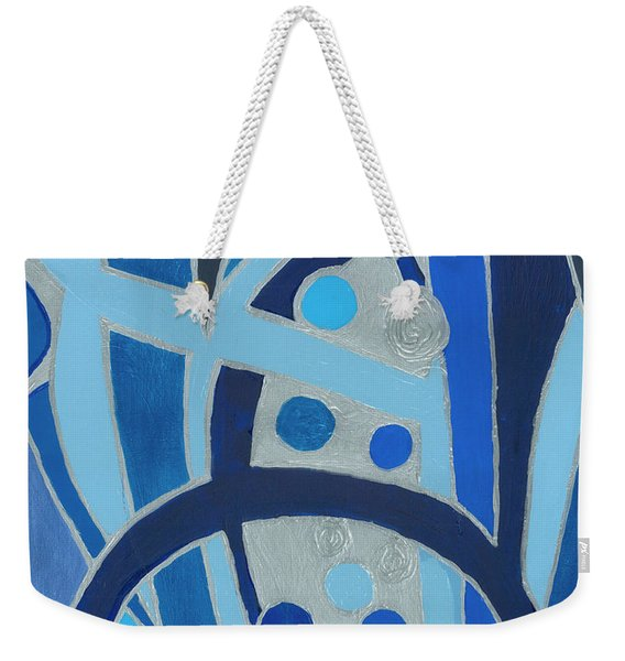 Blue On Silver Weekender Tote Bag