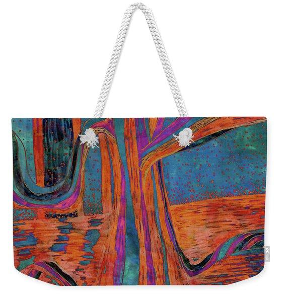 Blue-orange Warm Dusk River Tree Weekender Tote Bag