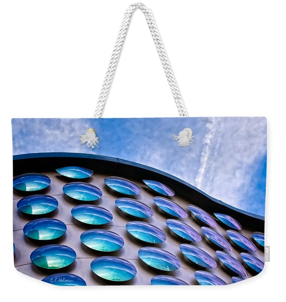 Blue Polka-dot Wave Weekender Tote Bag