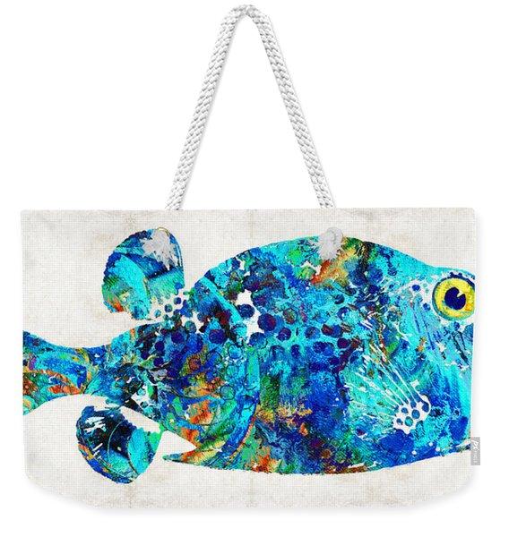 Blue Puffer Fish Art By Sharon Cummings Weekender Tote Bag
