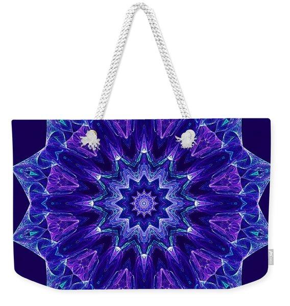 Blue And Purple Mandala Fractal Weekender Tote Bag