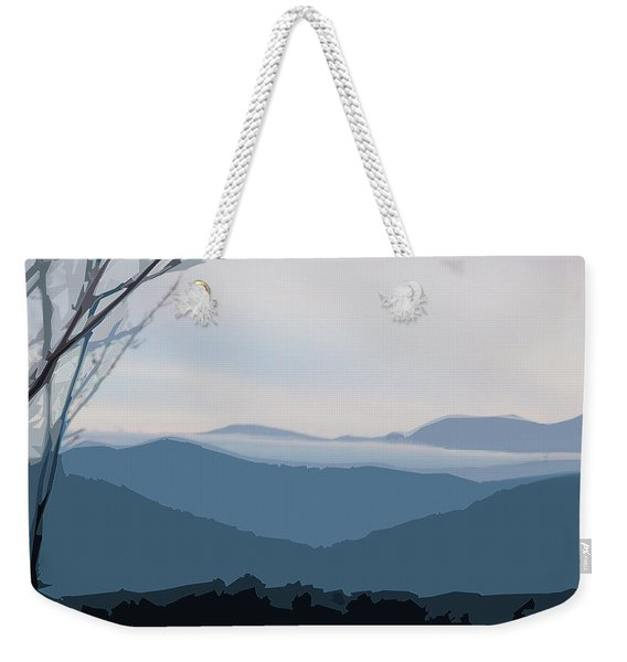 Weekender Tote Bag featuring the digital art Blue Ridge Above The Clouds by Gina Harrison