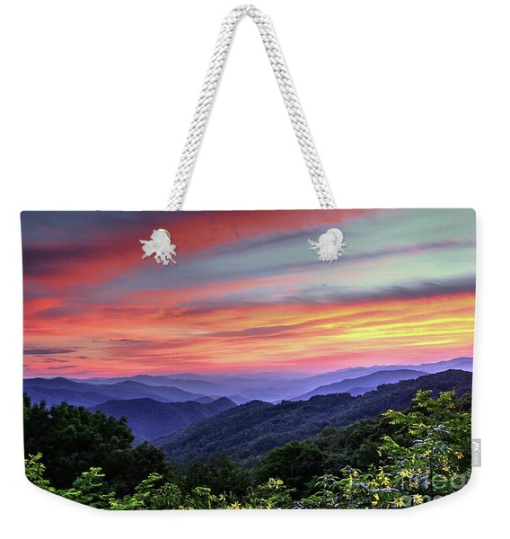 Blue Ridge Mountain Color Weekender Tote Bag
