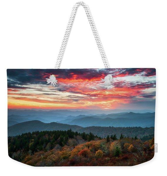 Blue Ridge Parkway Autumn Sunset Scenic Landscape Asheville Nc Weekender Tote Bag