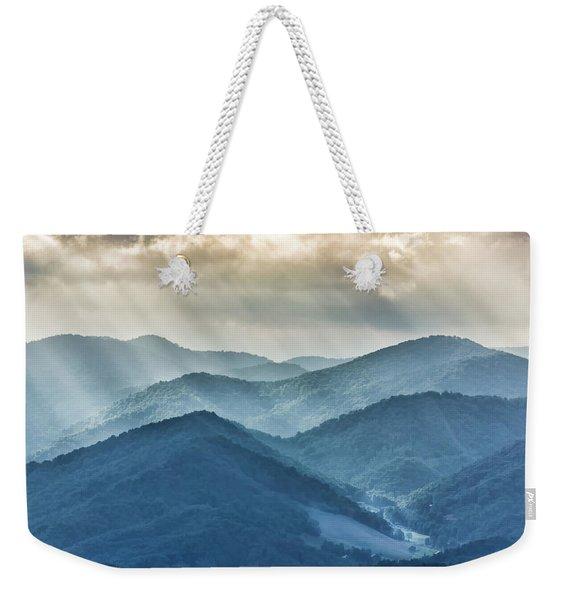 Blue Ridge Sunset Rays Weekender Tote Bag